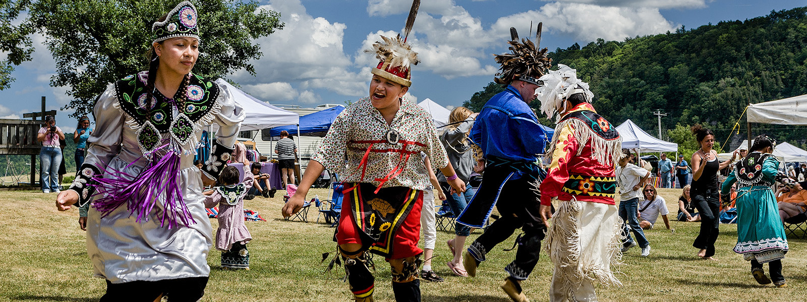 Traditional dancing at annual Kanatsiohareke Mohawk Indian Festival IN Fonda