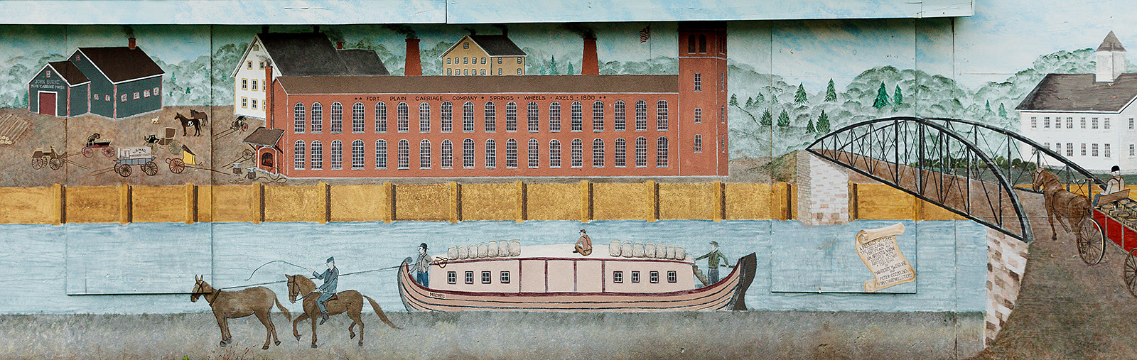 """""""Fort Plain on the Erie Canal"""", (detail), Cozzolino and MacFarlane, Chartwell Studios, Sharon Springs, NY, courtesy of R. Hancock, Spring and Axle Works building, Willett Street, Fort Plain"""