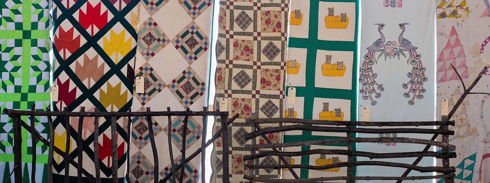 Quilts hanging at Amish auction, Minden